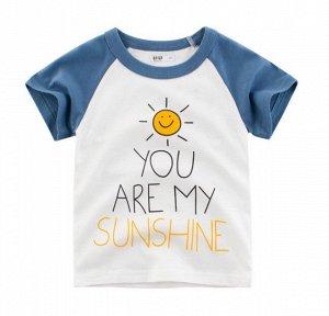 """Футболка детская, надпись """"You are my sunshine"""", цвет белый/синий"""
