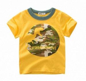 """Футболка детская, принт """"Динозавр"""", цвет желтый"""