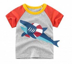 """Футболка детская, принт """"Акула в спасательном кругу"""", цвет серый/красный"""