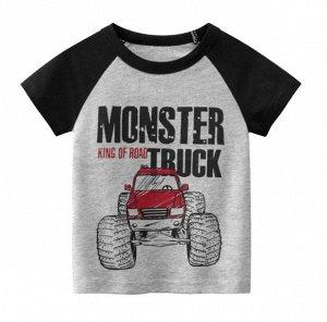 """Футболка детская, принт """"Внедорожник"""", надпись """"Monster truck"""", цвет серый/черный"""