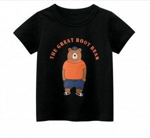 """Футболка детская, принт """"Медведь в кепке"""", надпись """"The great boot bear"""", цвет черный"""