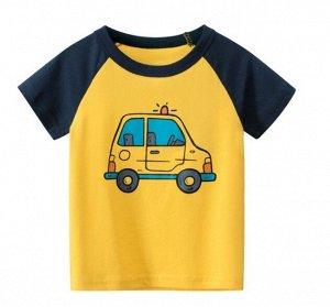 """Футболка детская, принт """"Полицейская машина"""", цвет желтый/синий"""