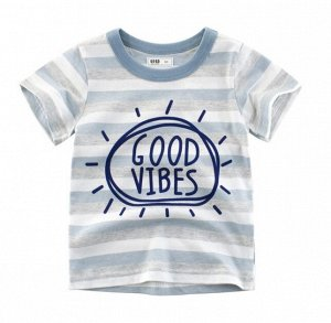 """Футболка детская в полоску, надпись """"Good vibes"""", цвет серый/белый/голубой"""
