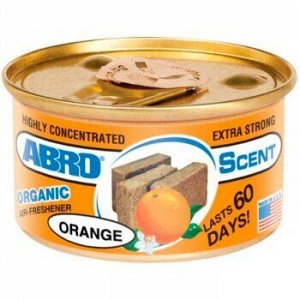 "Ароматизатор на торпеду ""Abro"" Органик, Апельсин, с растит. наполнителем, баночка 42 гр."