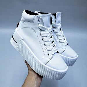 Белые кожаные ботинки COOL