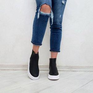 Черные кожаные ЧЕЛСИ 089 на белой подошве