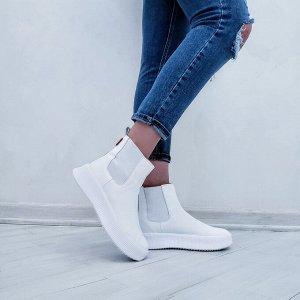 Белые кожаные ЧЕЛСИ 089 на белой подошве