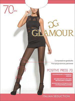 Шелковистые эластичные колготки GLAMOUR Positive Press 70 с шортиками