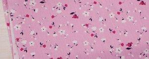 Ткань Сатин - Цветочки на розовом фоне 0,5*1,6м