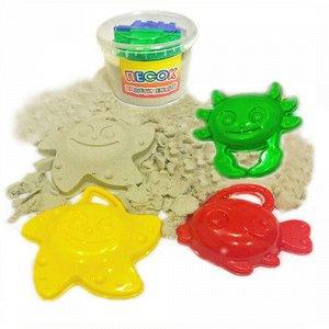 Песок кинетический +3 формочки (морские обитатели), банка