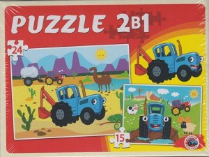 Макси-пазлы 2 в 1 Синий трактор (15 и 24 эл.),19*14*3 см