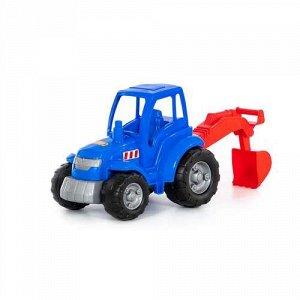 """Трактор """"Чемпион"""" с лопатой, цв.синий,сетка 36*22,5*31,5 см"""