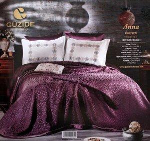 Покрывало с наволочками и с постельным бельем модель ANNA цвет фиолетовый