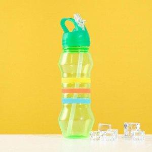 Фляжка-бутылка «Три полоски», 750 мл, зелёная 1189442