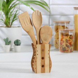 Набор кухонных принадлежностей «Дуновение леса», 3 предмета на подставке: 2 лопатки, ложка