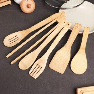 Набор кухонных принадлежностей «Дуновение леса», 7 предметов на подставке: щипцы, ложка, 4 лопатки