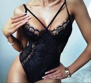 Женское кружевное боди, цвет черный