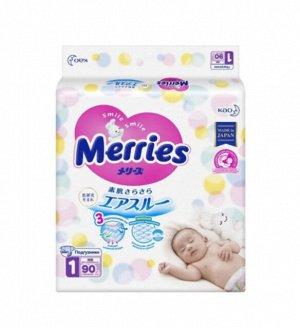 Подгузники Merries для новорожденных NB до 5кг 90шт