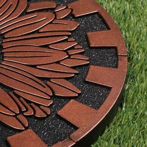 Мобильная садовая плитка-коврик, d = 33 см, резина, «Цветок»