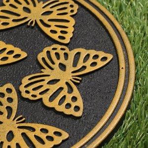 Мобильная садовая плитка-коврик, d = 30 см, резина, «Бабочки»