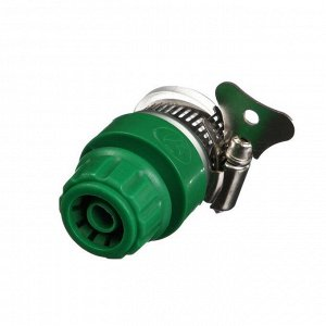 "Коннектор, 3/4"" (19 мм), с креплением на кран 3/4"" (19 мм), с хомутом, пластик, резина"
