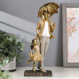 "Сувенир полистоун ""Папа с дочкой на прогулке под зонтом"" бежевый 28х11х8 см"
