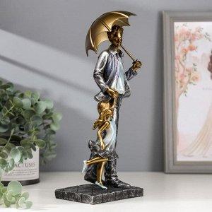 "Сувенир полистоун ""Папа с дочкой на прогулке под зонтом"" синий 28х11х8 см"
