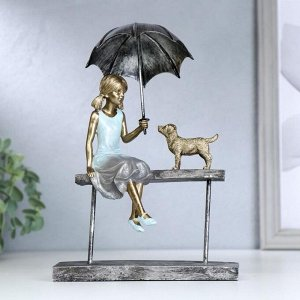 "Сувенир полистоун ""Девочка на скамейке под зонтом, с пёсиком"" синий 22,5х16,5х5,3 см"