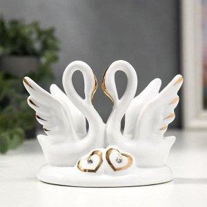"""Сувенир керамика """"Два белых лебедя с сердечками"""" с золотом 13 см"""