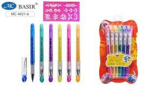 Набор гелевых ручек для тату+трафареты-наклейки, с блестками МС-4921-6 6цв Basir {Китай}