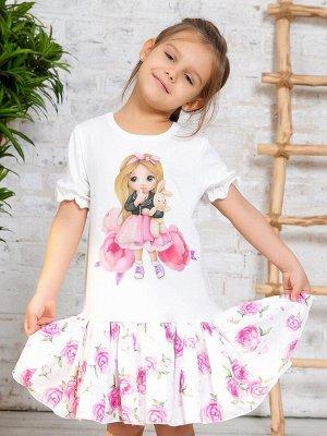 """Платье с принтом """"Малышка с зайкой"""" короткий рукав"""