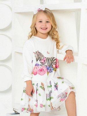 """Платье с принтом """"Зебра в цветах"""" с молочной юбочкой"""
