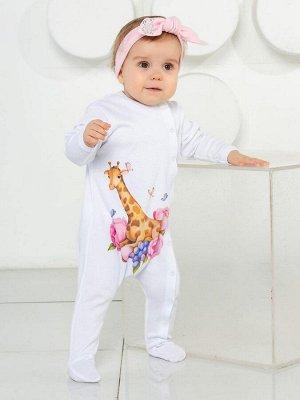 """Комбинезон на кнопках """"Жираф в цветах"""""""