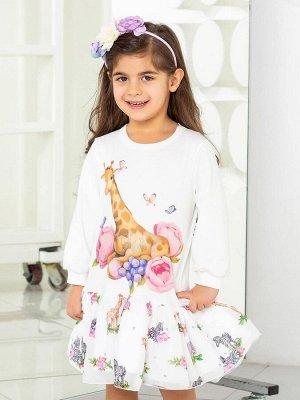"""Платье с принтом """"Жираф в цветах"""" с молочной юбочкой"""