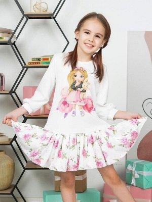 """Платье с принтом """"Малышка с зайкой"""" длинный рукав"""