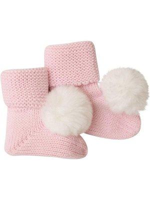 Пинетки вязаные (розовый) с помпоном