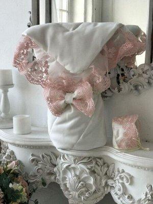 """Конверт-одеяло на выписку """"Венеция"""" (молочный с розовым кружевом)"""