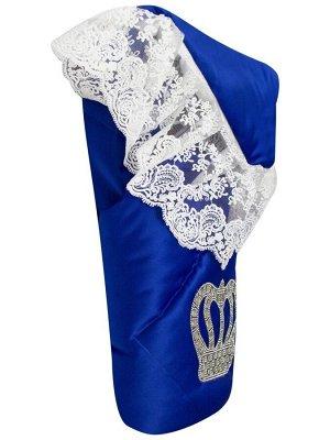 """Конверт-одеяло на выписку """"Империя"""" синий с молочным кружевом и большой короной на липучке"""