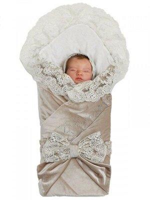 """Зимний Конверт-одеяло на выписку """"Блюмарим"""" (бежевый с молочным кружевом, стразами и бантом)"""