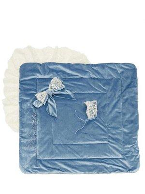 """Конверт-одеяло на выписку """"Блюмарим"""" (голубой с молочным кружевом, стразами и бантом)"""