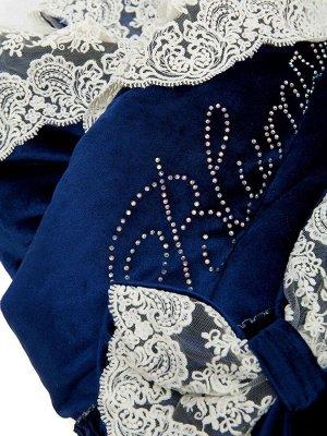 """Зимний Конверт-одеяло на выписку """"Блюмарим"""" (темно-синий с молочным кружевом, стразами и бантом)"""
