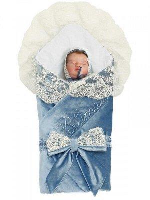 """Зимний Конверт-одеяло на выписку """"Блюмарим"""" (голубой с молочным кружевом, стразами и бантом)"""