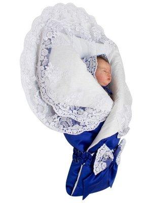 """Конверт-одеяло на выписку """"Королевский"""" (синий с белым кружевом)"""