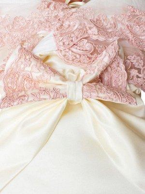"""Конверт-одеяло на выписку """"Королевский"""" (молочный с розовым кружевом)"""