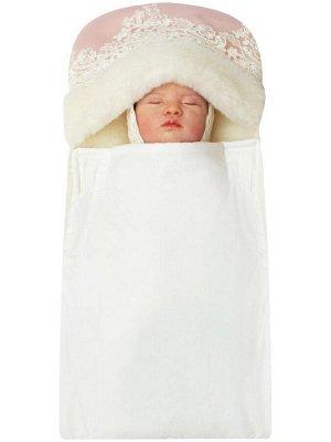 """Зимний конверт-одеяло на выписку """"Принцесса"""" (розовый с молочным кружевом)"""