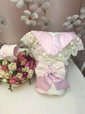 """Зимний конверт-одеяло на выписку """"Лондон"""" (двухцветный молочно-розовый с молочным кружевом)"""