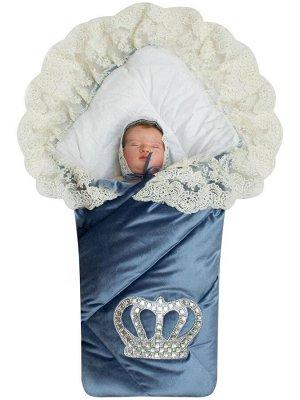 """Зимний Конверт-одеяло на выписку """"Императорский"""" (голубой с молочным кружевом и большой короной на липучке) без пледа"""
