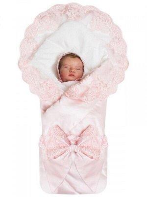 """Зимний конверт-одеяло на выписку """"Венеция"""" атлас (нежно розовый с розовым кружевом)"""