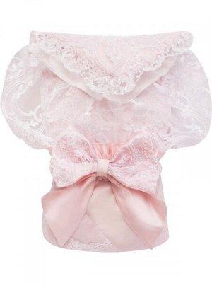 """Конверт-одеяло на выписку """"Роскошный"""" (розовый с белым кружевом)"""