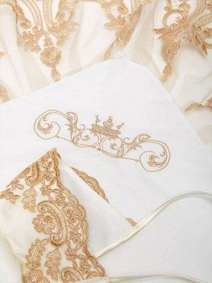 """Конверт-одеяло на выписку """"Роскошный"""" (молочный с золотым кружевом)"""